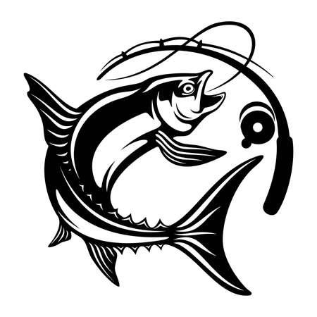Illustration pour Salmon fish and fishing rod -  Template club emblem. Fishing theme vector illustration. - image libre de droit