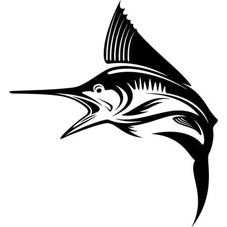 Illustration pour Blue Marlin fish -  Template club emblem. Fishing theme vector illustration. - image libre de droit