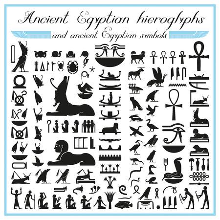 Ancient Egyptian hieroglyphs and symbols