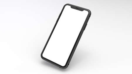 Photo for Mockup of a black cell phone with a white background. Perfect for putting images of websites or applications. - Royalty Free Image