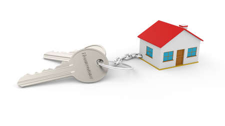 Foto de Two silver keys with a key chain of a house with the text Homeowner, all isolated on a white background. For real estate sales publications. Three-dimensional Home key chain. Real estate concept with house and key. Idea for real estate concept, personal property. - Imagen libre de derechos