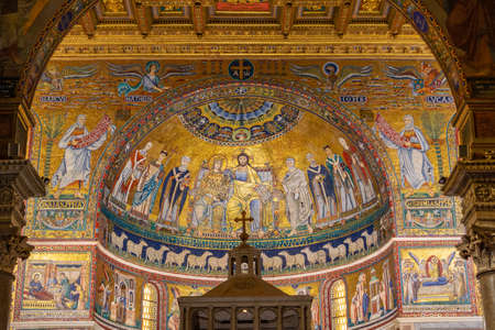 Photo for interior of catholic church Basilica of Santa Maria in Trastevere - Basilica di Santa Maria in Trastevere - Royalty Free Image