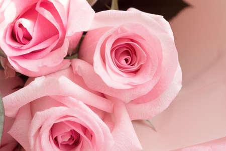 Photo pour Macro view of dusty pink rose flower in aesthetic bouquet - image libre de droit