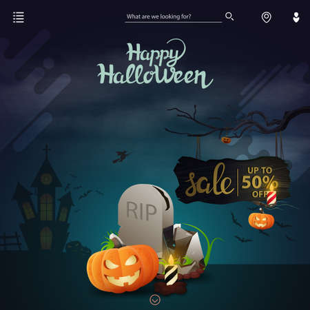 Illustration pour Template for website with Halloween decor. Halloween sale, up to 50 off, discount page for site with tombstone and pumpkin Jack - image libre de droit