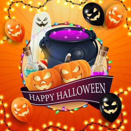 Illustration pour Happy Halloween, square orange, template for your creativity with big circle, garland, ribbon with greeting, halloween ballons, ghost, witch's cauldron and pumpkin Jack - image libre de droit