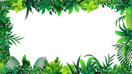 Illustration pour A frame of tropical leaves around a white empty space. Layout of a frame made of tropical elements for your creativity - image libre de droit
