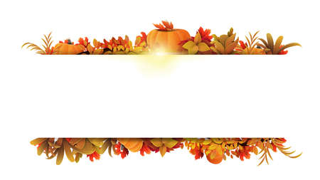 Illustration pour White frame of autumn leaves and autumn elements around a white empty space. Layout of a border made of autumn vegetation - image libre de droit