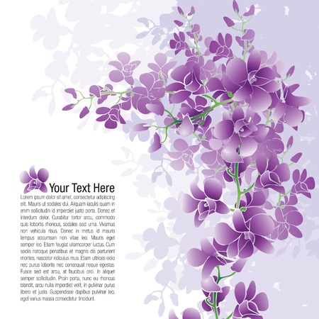 Page layout of purple orchids with possible text placement.