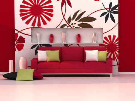 Photo pour Interior of the modern room, floral wall and red sofa - image libre de droit