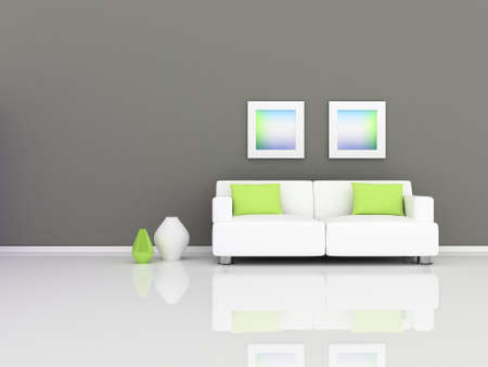 rior of the modern room, grey wall and white sofa
