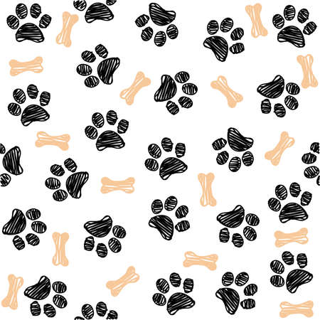 Illustration for Background with dog paw print and bone - Royalty Free Image