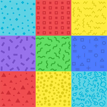 Illustration for Collection of swatches memphis patterns - Royalty Free Image