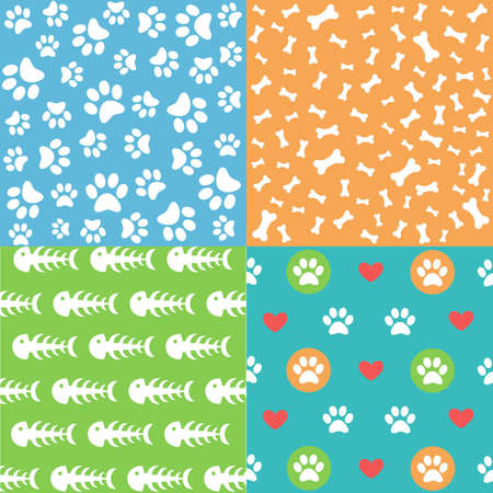 Illustration for Set of patterns with paw footprints and bones - Royalty Free Image