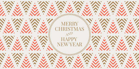 Ilustración de Winter holidays greeting card with seamless geometric pattern background. Merry Christmas and Happy New Year. Elegant template for postcards, invitations, banners. Vector illustration. EPS 10 - Imagen libre de derechos