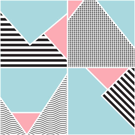 Seamless geometric pattern  Memphis design  80s and 90s