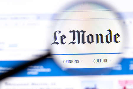 Photo for Los Angeles, California, USA - 18.02.2020: Le Monde website page with close up logo. Lemonde.fr site icon on screen, Illustrative Editorial. - Royalty Free Image