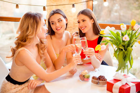 Photo pour Three pretty, nice, attractive two girls listening their friend while she saying toast, holding with hands, clinking glasses with champagne, wine, alcohol, beverage - image libre de droit