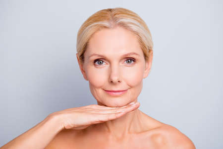 Pretty, attractive, charming, woman demonstrate, show, present her perfect skin after peeling