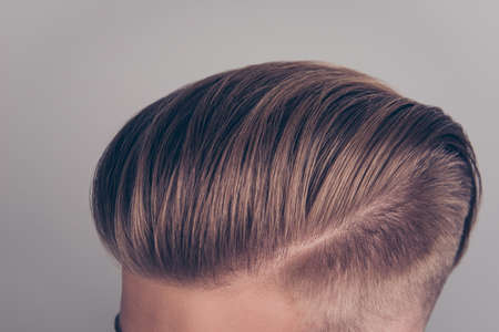 Photo for Close up cropped top above view photo of modern ideal clean perfect clear stunning handsome blonde healthy  hairdress isolated on gray background - Royalty Free Image