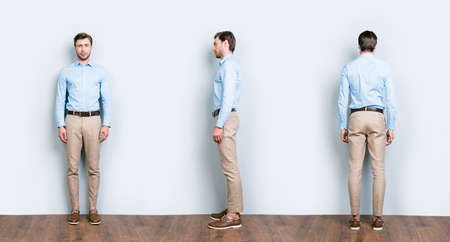 Photo pour Collage of three full length portrait from all side of perfect, cool, attractive man in blue shirt, pants standing near grey wall on wooden floor - image libre de droit