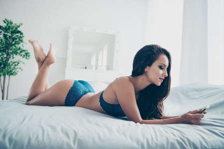 Foto de Full length legs body size portrait of beautiful nude lady with - Imagen libre de derechos