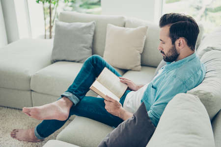 Photo pour Full legs body size calm nice good-looking stubble brunet hair m - image libre de droit