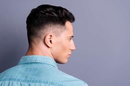 Foto de Rear back profile side view of attractive handsome cool confiden - Imagen libre de derechos