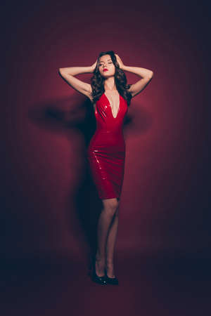 Photo pour Full length body size vertical well-groomed lady in red dress - image libre de droit
