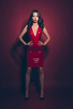 Photo pour Full length body size vertical gorgeous brunette model - image libre de droit