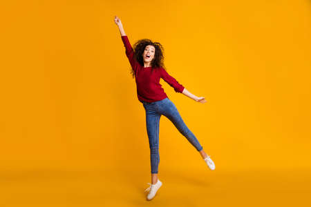 Photo pour Full length body size view of her she nice lovely attractive cheerful funny slim thin fit wavy-haired lady vacation weekend holding invisible umbrella isolated bright vivid shine orange background. - image libre de droit