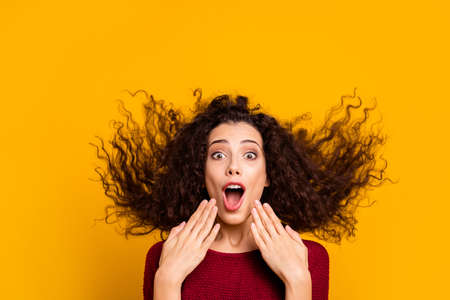 Foto de Close up photo amazing charming her she lady hair flight yelling loud funky run running black friday shopping wearing red knitted sweater clothes outfit isolated yellow bright background - Imagen libre de derechos