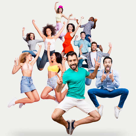Full length body size portrait cool attractive cheerful she her ladies he him his guys flying air mixed together in one stylized illustration sport life placard idea concept isolated white backgroundの写真素材