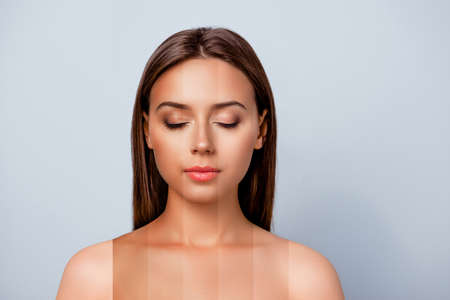 Photo pour Close-up portrait of nice peaceful lady pure perfect flawless smooth shine skin divided different colors parts closed eyes isolated over pastel gray background - image libre de droit