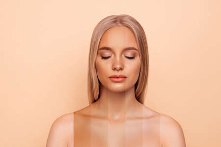 Foto de Close-up portrait of nice attractive blonde naked nude lady with pure perfect flawless smooth soft shine skin different color parts closed eyes bronze blusher isolated over pastel gray background - Imagen libre de derechos