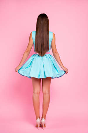 Foto de Vertical full length body size rear back behind view portrait of her she nice-looking attractive stunning chic gorgeous straight-haired lady isolated over pink pastel background - Imagen libre de derechos