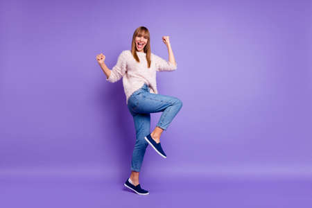 Photo pour Full length body size view portrait of her she nice-looking attractive winsome lovely cheerful cheery straight-haired lady having fun isolated on bright vivid shine violet purple background - image libre de droit