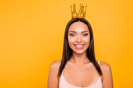 Close up photo beautiful amazing she her lady toothy smile leader chief gold crown head famous person pop star girls run world concept wear casual pastel tank-top isolated yellow bright background