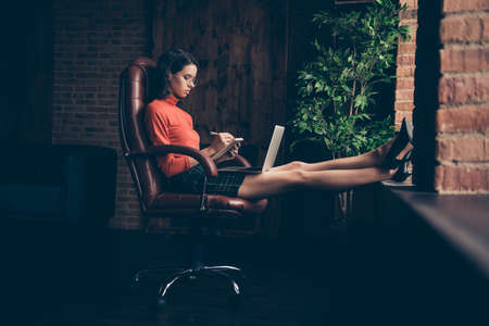 Foto de Profile side view of nice attractive charming professional executive ceo boss chief employee sitting on chair writing to-do list mind map in loft brick industrial style interior work place station - Imagen libre de derechos