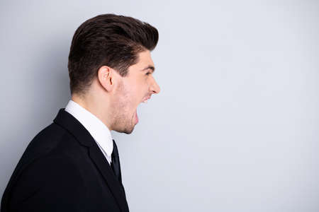 Photo pour Evil collar. Profile side view photo frustrated irritated stylish manager annoyed have disagreement feel rage crazy disappointed scream shout yell dressed modern clothing isolated argent background - image libre de droit
