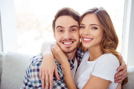 Photo pour Close-up portrait of his he her she nice-looking adorable attractive charming tender guy caressing lady ideal match soulmate date in light white style interior hotel house indoors - image libre de droit