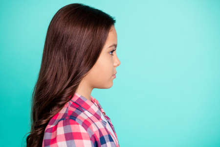 Photo pour Portrait of nice attractive gorgeous pretty kid person feel pensive good-looking ready study future student dressed bright fashionable clothes plaid isolated turquoise background. - image libre de droit