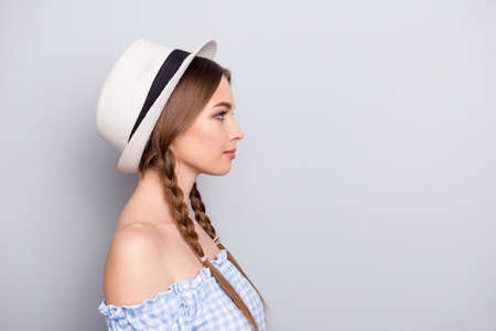 Profile side view photo of charming lady have thoughts true work worker freelancer job entrepreneur have rest relax free time she her dressed shirt plaid fashionable isolated silver background