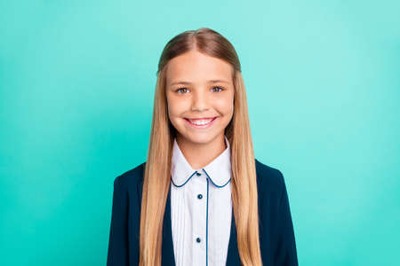 Photo pour Close up photo beautiful amazing she her little lady pretty hairdress like studying school weekend vacation mood wear formalwear shirt blazer school form isolated bright teal turquoise background - image libre de droit