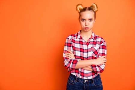 Photo pour Close up photo attractive beautiful she her lady arms crossed bad mood not satisfied wrong not fair situation offense lips expression wear casual checkered plaid pink shirt isolated orange background - image libre de droit