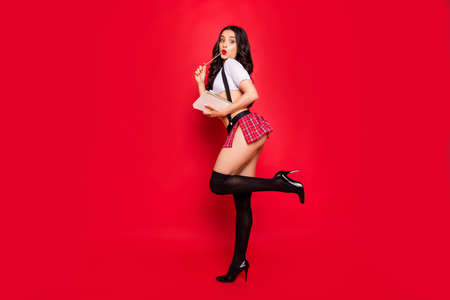 Photo pour Profile side full length body size view of nice stunning attractive gorgeous lovely coquettish slim fit thin wavy-haired lady holding homework copybook isolated over bright vivid shine red background - image libre de droit