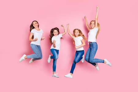 Full length body size view of four nice attractive trendy slim fit cheerful glad overjoyed excited positive long hair girls having fun rejoicing funky mood motherhood isolated on pink pastel background