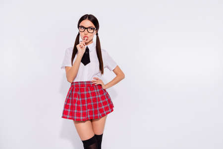 Portrait of her she nice-looking attractive lovely winsome glamorous alluring enticing girl wearing checked skirt licking lolly lolli pop sweet isolated on gray light white background