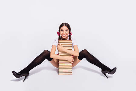 Photo pour Full length body size photo beautiful she her teacher sit floor lean book pile between open legs hips tails wear specs short red checkered costume pantyhose tights isolated white background - image libre de droit