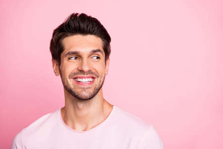 Photo for Closeup photo of amazing guy look silly empty space wearing casual outfit isolated on pink background - Royalty Free Image