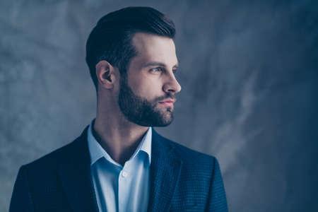Foto de Profile side photo of minded classy, person good-looking wearing stylish blazer jacket formal wear isolated over grey background - Imagen libre de derechos